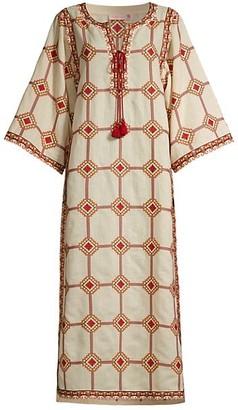 Tory Burch Embroidered Silk & Linen Caftan