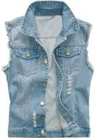 Kasfly Men's Sleeveless Lapel Denim Vest Jacket