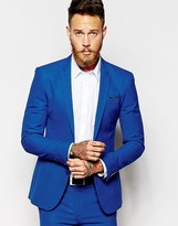 Asos Super Skinny Suit Jacket In Blue