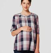 LOFT Maternity Plaid Henley Blouse