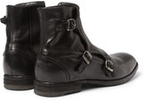 Alexander McQueen Triple Monk-Strap Washed-Leather Boots
