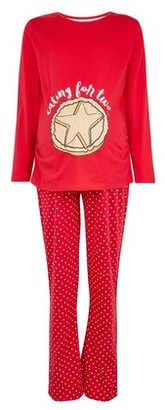 Dorothy Perkins Womens **Maternity Red 'Eating For Two' Printed Cotton Pyjama Set, Red