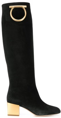 Salvatore Ferragamo Gancini knee-high boots