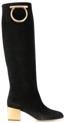 Salvatore Ferragamo Gancini knee-high boots