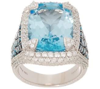 Judith Ripka Sterling Silver Blue Topaz & Diamonique Cocktail Ring