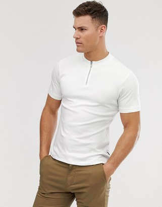 Jack and Jones grandad collar zip polo in white