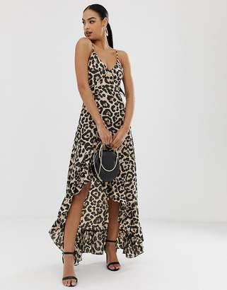 In The Style leopard frill hem maxi dress-Multi