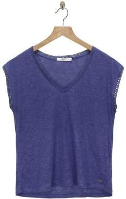 Pepe Jeans Steel Blue Linen Clementine Open Knit T Shirt - M - Blue