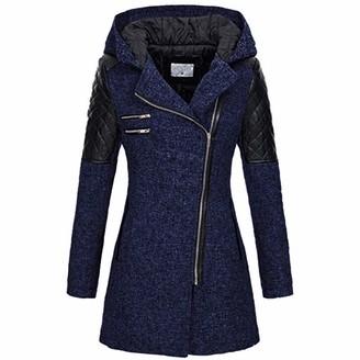 Celucke Womens Warm Slim Jacket Thick Overcoat Winter Hooded Zipper Coat Outwear Navy