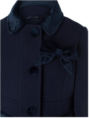 Monsoon Girls Velvet Trim Coat with Brooch - Navy