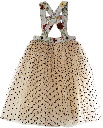 Oscar de la Renta Mixed Botanical Straps & Tulle Silk-Lined Dress