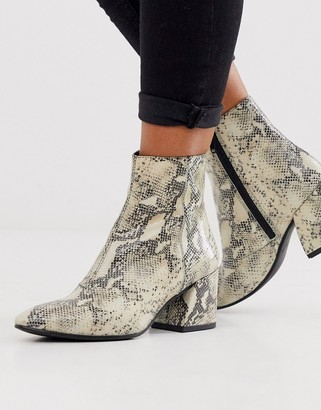 Vagabond Olivia natural snake leather pointed mid heeled ankle boots