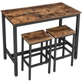 3 Piece Wooden Top Bar Table Set With Tubular Metal Legs, Brown And Black Union Rustic