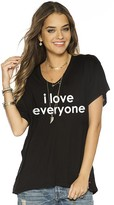 Peace Love World I Love Everyone Black Mia V V-Neck Oversized Tee