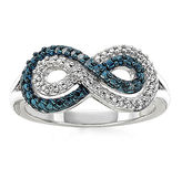 JCPenney FINE JEWELRY Infinity Promise 1/5 CT. T.W. White and Color-Enhanced Blue Diamond Sterling Silver Infinity Ring