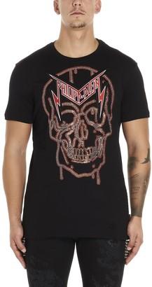 Philipp Plein Crystal Skull Logo Print T-Shirt
