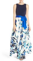 Eliza J Petite Women's Jersey & Crepe De Chine Maxi Dress