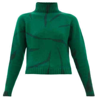 The Elder Statesman Lightning Cropped Tie-dyed Cashmere Sweater - Womens - Green