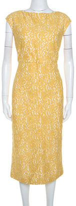 N°21 N21 Yellow Lace Sleeveless Midi Sheath Dress M