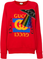 Gucci sequin embroidered sweatshirt - women - Cotton/Polyester - S