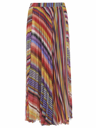 Etro Long Pleated Printed Skirt