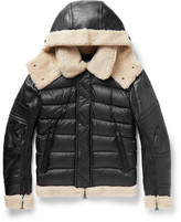 Moncler Tancrede Shearling-Lined Leather And Quilted Shell Jacket