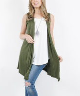 Lydiane Women's Open Cardigans ARMY - Army Green Drape-Front Open Vest - Women