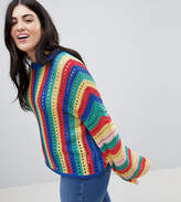 Asos DESIGN Curve crochet sweater with flared sleeve in bright stripe