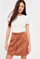 Missguided Brown Tab Detail Zip Through Faux Suede Mini Skirt