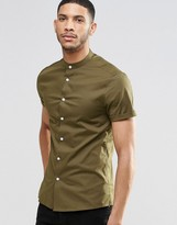 Asos Skinny Shirt In Brown With Grandad Collar And Short Sleeves