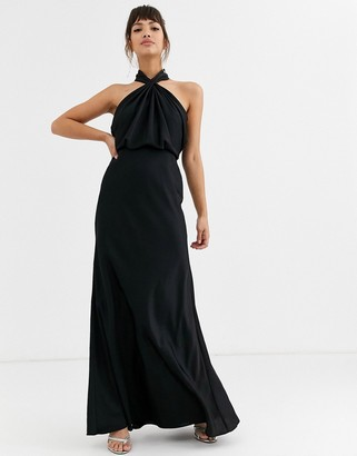 ASOS EDITION ruched halter neck maxi dress