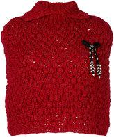Twin-Set cropped bow detail poncho - women - Acrylic/Cotton - One Size