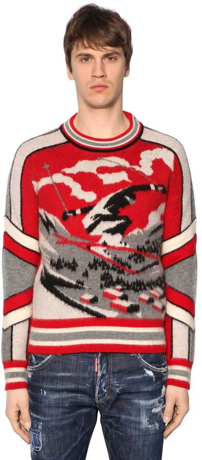 DSQUARED2 Ski Jacquard Wool Knit Sweater