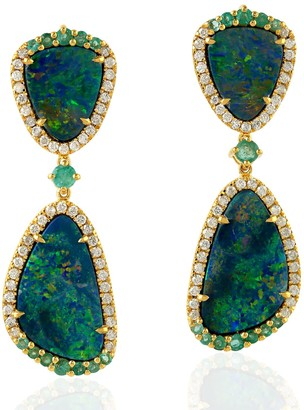 Artisan 18Kt Yellow Gold Diamond Dangle Earrings With Opal Doublet