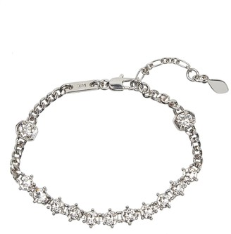 Rebecca Minkoff Silver Plated Brass CZ Accented Chain Bracelet