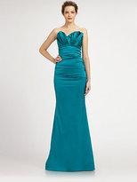 Theia Asymmetrical Structured-Bodice Satin Gown