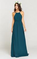 MUMU Amanda Maxi Dress ~ Deep Jade Chiffon