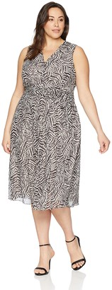 Anne Klein Women's Size Plus Printed V-Neck MIDI Dress