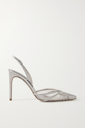 Rene Caovilla Crystal-embellished Metallic Leather And Pvc Slingback Pumps - Silver