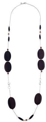 Di Modolo Wood, Garnet & Onyx Chain Necklace