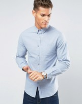 Lindbergh Shirt Slim Fit In Light Blue Marl Flannel