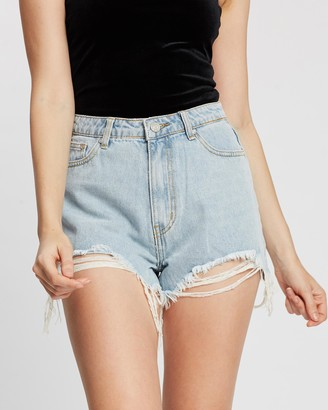 Missguided Women's Blue Denim - Extreme Rip High-Waisted Shorts - Size 6 at The Iconic