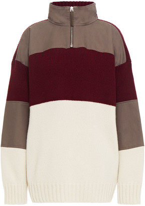 Gabriela Hearst Twill-paneled Color-block Cashmere Sweater