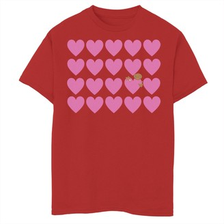 Licensed Character Boys 8-20 E.T. Valentines Pink Heart Grid E.T. Peaking Tee