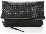 Oasis Black Leather Studded Fold Over Clutch Bag Handbag