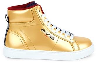 Roberto Cavalli Sport Metallic Leather High-Top Sneakers