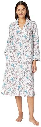 Carole Hochman Diamond Quilt Long Sleeve Long Zip Robe (White Watercolor Floral) Women's Robe