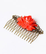 Vintage Style Blooming Red Rose Hair Comb