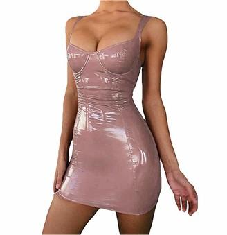 Xiaoqin Women's Sexy Backless Club Party Short Dress Sleeveless Latex Bodycon Faux Leather Push Up Bra Mini Leotard Shapewear (M