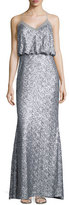 Badgley Mischka Sequined Sleeveless Blouson Gown